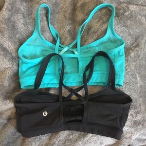 Lululemon Athletica 2 Black/ Aqua Sports Bra Set